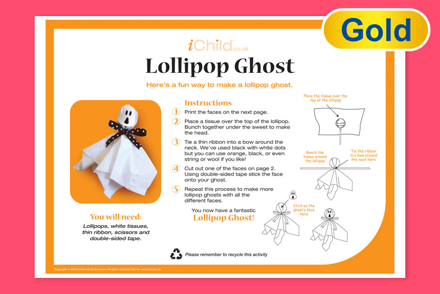 Activity of month 3-5 years Ghost Lollipop image