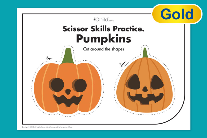 Activity of month 5-7 years Pumpkin scissor skills image