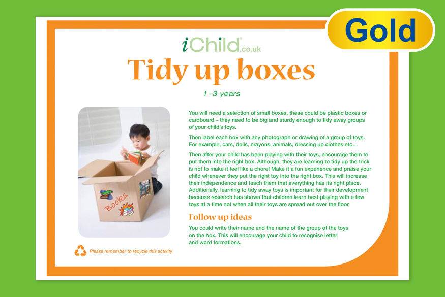Activity of the month: 1-3 years Tidy up Boxes image
